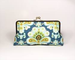 french wallpaper in teal large clutch purse zella bella madeit