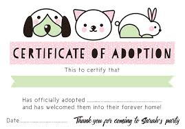 pet adoption certificate template eliolera com
