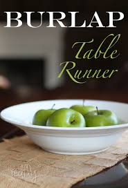 burlap table runner via redflycreations com burlap tablerunner