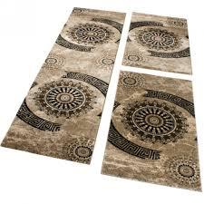 Teppich Schlafzimmer Beige Bettumrandung 3 Tlg Designer Teppich Läufer Steinwand Optik In