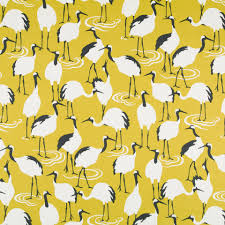 dark yellow bird upholstery fabric modern bird linen drapery