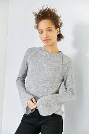 bell sleeve sweater lyst bdg bell sleeve sweater in gray