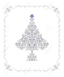 detailed silver christmas tree ornament in a frame royalty free