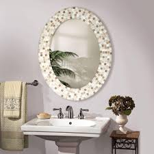 how to decorate bathroom mirror wall mounted oval mirror with elegant white floral pattern f frame