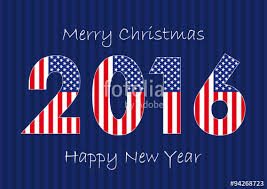 2016 new year usa card the banner of merry and happy new
