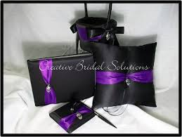 purple guest book items similar to black and purple wedding ring pillow