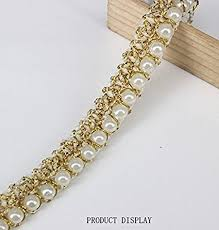 necklace pearls ribbon images 5yards beaded pearl white gold trimming lace ribbon jpg