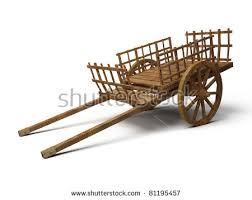 vintage wooden cart 3d illustration isolated stock illustration