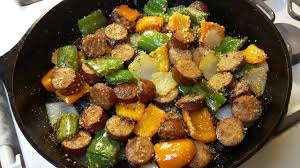 Cast Iron Cooking Cast Iron Cooking Kielbasa And Peppers Recipe Youtube