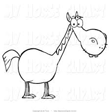 clip art of a coloring page outline of a stout horse with a long