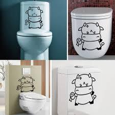 diy funny cartoon toilet seat stickers bathroom refrigerator wall