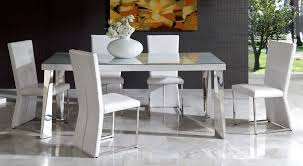 Modern Dining Set White Spain Modern Dining Set In White Eco Leather Crocodile Finish New