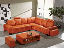 Living Room With Orange Sofa Burnt Orange Leather Sofa 14 About Remodel Living Room Sofa