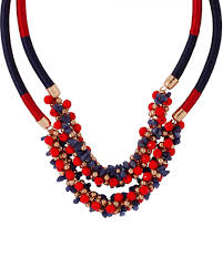 red necklace online images Grab red blue beaded statement necklace with gold tone interlink jpg