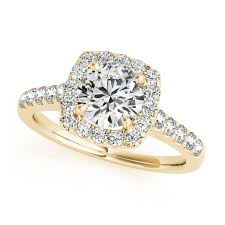 engagement rings yellow gold gold engagement ring square halo diamond cut