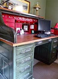 our old roll top desk could use a redo like this