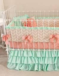 ruffle girls bedding mint peach baby bedding crib bedding baby bedding