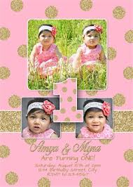 glitter sparkle twins first birthday invitations pink gold twins