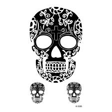 skull temporary tattoos sticker waterproof temporary arts