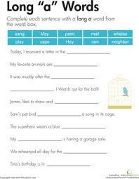 long worksheets phonics and sentence structure