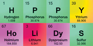 wishing you happy holidays with periodic table symbols