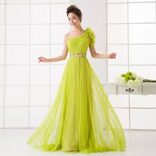 lime green bridesmaid dresses lime green bridesmaid dress one shoulder a line tulle beaded