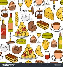 cartoon wine and cheese seamless background cartoon cute hand drawn stock vector 294340058