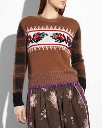plaid sweater coach leaf plaid sweater