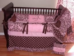 Pink And Brown Damask Crib Bedding Nursery Beddings Pink And Gold Crib Bedding Together With