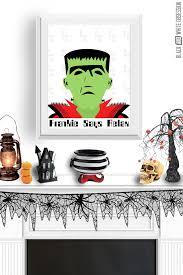 black and white obsession free halloween print frankenstein wall art