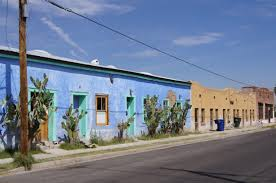 blue house and doors barrio viejo tucson arizona the southwest
