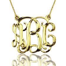 Monogram Initials Necklace Cube Monogram Initials Necklace 18k Gold Plated