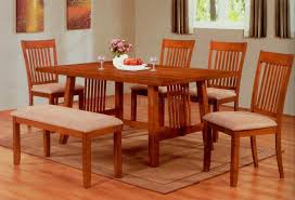 Casual Dining Room Sets Oak Finish Modern Casual Dining Table W Optional Chairs U0026 Bench