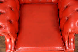 Vintage Leather Club Chair Red Tufted Leather Vintage Scandinavian Traditional Wing Chair