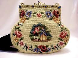 vintage needlepoint purse figural petit point 1920 s handbag