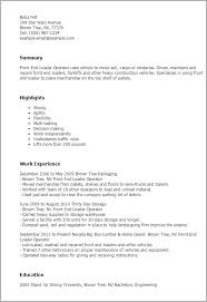 Resume For Forklift Operator Professional Front End Loader Operator Templates To Showcase Your