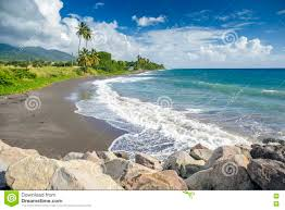 beaches with black sand beach on a st kitts island with black sand stock photo image