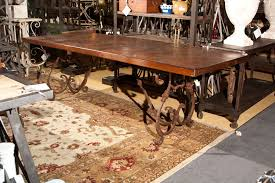 wood and iron dining room table iron base wood top dining table at 1stdibs