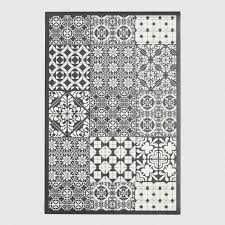 Vinyl Area Rugs Black And White Patchwork Print Vinyl Area Rug World Market