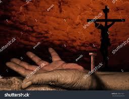 crucifixion christ the hand jesus jesus stock photo 336511811
