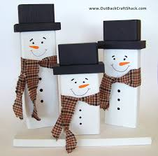 wood snowman decoration family of snowmen