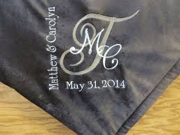 Engraved Wedding Gifts Ideas Embroidered Blanket Wedding Gift Tbrb Info