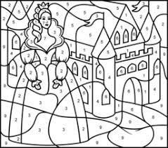 coloring pages princess castle printable color number