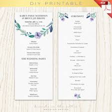wedding program template printable printable program ceremony