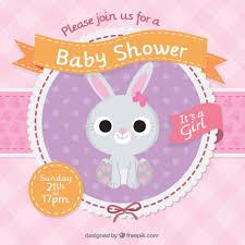 rabbit invitation baby shower invitation with a beautiful rabbit vector free
