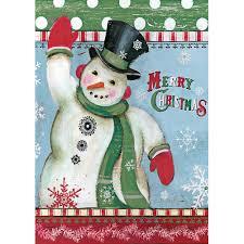 Mini Garden Flags Kimberly Poloson Merry Snowman Mini Garden Flag 739744153948