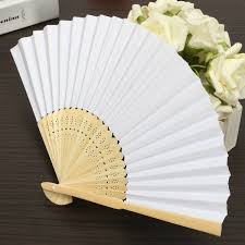 held folding fans 5pcs simple blank diy paper folding fan wedding party folding