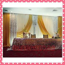 wedding backdrop gold hotsale white and gold wedding backdrop curtain with swag