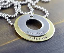 Personalized Stamped Necklace Hand Stamped Washer Necklace Hand Stamped Necklace Washer