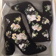 Vintage Velvet Flowers - shoes boots vintage floral black hipster embroidered